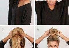 Coole und einfache DIY-Frisuren - Unordentliches Brötchen - schnelle und einfache Ideen für ...