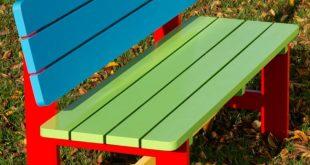 Painted nursery school garden bench.
