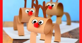3D Construction Paper Reindeer - Christmas Craft Idea with Template