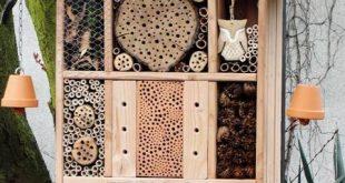 Insektenhotel Bilder von selbst gebauten Insektenhotelhotels, ein Wildbienenhote