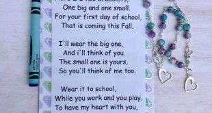 Kindergarten Poem - Mother Daughter Bracelet Set - First Day of School - Preschool Bracelet - Mom and Daughter - Back to School - Anxiety